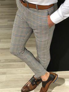 Mode Plaid Motif Imprimer Hommes Pencil Pantalon Zipper Fly Spring Spring Automne Pantalon Casual Mens Designer Pants