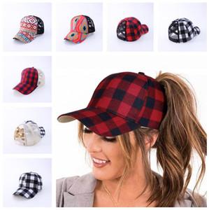 Negro rojo de la tela escocesa del búfalo gorra de béisbol de las mujeres de las muchachas del entrecruzamiento de ahueca hacia fuera la bola Sombrero Cola de caballo los casquillos del Snapback de malla visera Headwear E102802