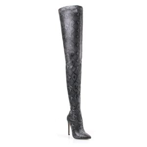 2021 muslo sobre la rodilla alta para mujer Snake Skin Shoes Toe Toe Toe Super Fine Heels Botas Largo Bottine Femme F2Y8
