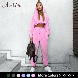 Artsu Flannel 2 Two Piece Set Sport Suit Pink Fleece Crop Top Hoodies Sweat Pants Women Matching Sets Clothing Outfit ASSU70116 201007