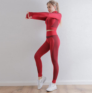 Autunm Winter Fashion Designer Designer Womens Cotton Yoga Suit Gymshark sportswear Tocksuit Sport fitness Set di due pezzi Set 2 pezzi 2pcs Leggings Abiti Cappotto