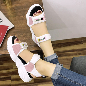 Fashion Ankle Strap Platform Sandals Women Casual Hook Loop Flat Heel Sandalias Woman Breathable Mesh Sport Shoes Mujer