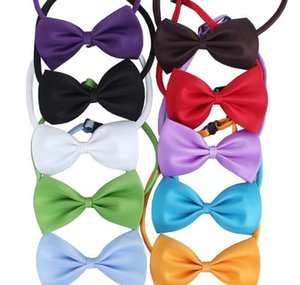 19 Colors Adjustable Pet Dog Bow Tie Dog Tie Collar Flower Accessories Decoration Supplies Pure Color Bowknot bbyfhC yh_pack