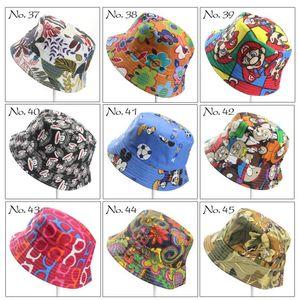 40 Renkler Çocuklar Kepçe Hat Casual Çiçek Güneş Baskılı Havza Tuval Topee Çocuk Şapka Bebek Bere Caps