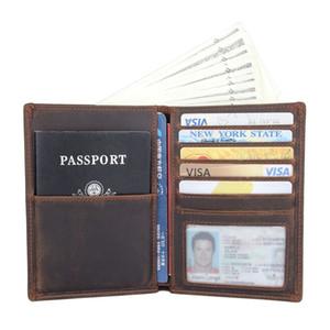 RFID Wallet Crazy Horse Leder Passport Halter Foto-Karten-Fall Herren-Falten-Geldbörse R-8457R C1223
