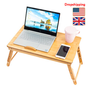 Stock in US UK Adjustable Bamboo Computer Desk Laptop Table Wood Color Trendy Double Flowers Engraving Pattern