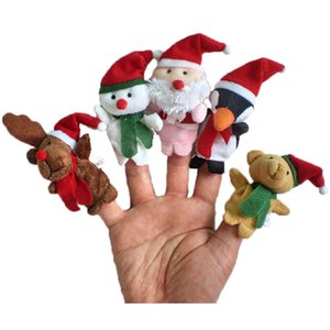 5pcs Lot Christmas Finger Toys Baby Stuffed Plush Toy Finger Puppets Cartoon Doll Hand Puppet Kids Toys Children Gift Party Favor HH9-3293