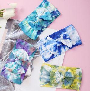 Tie Dye bébé Bandeau nylon Tie Dye Prints nylon bébé Bandeaux Tie Dye arc couleur headwraps filles Bows cheveux Turban Bun Bandeau KKF2210