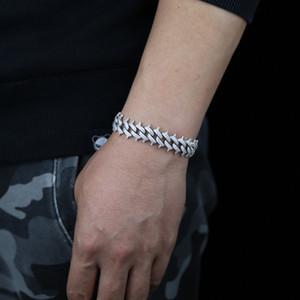 15mm Spikes Rivet Bolzen Herren Charm Armband Armreif Euro Out Gold Silber Farbe Kubanische Kette Armbänder Hip Hop Punk Gothic Bling Schmuck