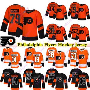 Filadélfia Flyers Jerseys 79 Carter Hart 28 Claude Giroux 14 Sean Couturier 19 Nolan Patrick 93 Jakub Voracek Gostisbeher Hóquei Jersey