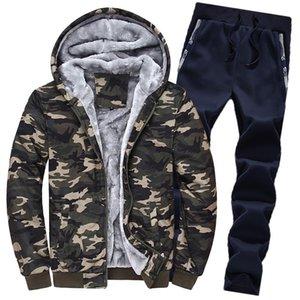 الرجال رياضية الشتاء نمط زائد المخملية الرياضية سترة البدلة مجموعة كبيرة الحجم هوديس البلوز