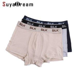 Suyadream hommes boxer shorts 100% soie naturelle sain sain sain sain tissu sous-vêtement lj201110