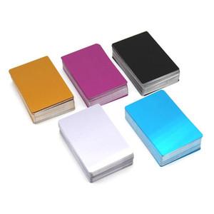 100 unids grabado en blanco Tarjetas de visita de aluminio Tarjetas de visita de aleación