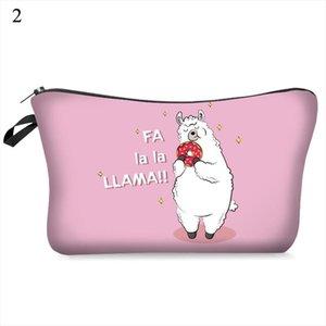 New Women Cosmetic Bag Pattern Llama 3D Printing Makeup Pouch Cute Girls Multicolor Travel Toiletry Bag Zipper Storage Organizer