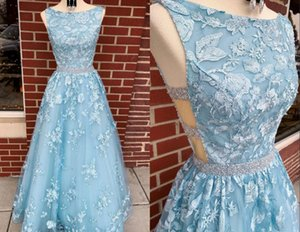 2021 Light Blue Cut-away Waist Prom Dresses Jewel Neck A line Beaded Sequins Cheap Pageant Evening Formal Gowns Pageant Celebrity Dress