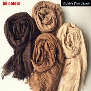 68 colors Crinkle hijab Wrinkle scarf fashion head scarf big shawls and wraps Malaysia Turban Y201007