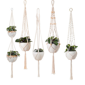 Wholesale Hand-woven Flower Plant Pots Cotton Rope Tassel Hanging Net Basket Plant Lanyard Knitting Hemp Flowerpot For Garden Balcony