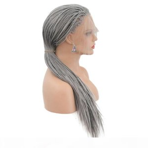 Synthetic Braided Wigs For White Women Siver Grey Glueless Synthetic Braided Lace Front Wig Heat Resistant Fiber Hair With Baby Hair