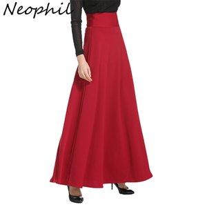 Neophil 2020 inverno mulheres muçulmanas mulheres longas saias mais tamanho preto cintura alta maxi skater saias jupe longupe lj201029