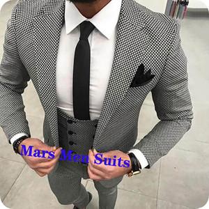 Black White Houndstoot motif Hommes costumes de mariage pour hommes veste marié usure Slim Fit Casual Tuxedo sur mesure Blazer sur mesure