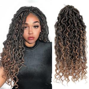 ola diosa Locs ganchillo Río de pelo de imitación Locs ondulada de ganchillo con pelo rizado sintético trenzado del pelo de la extensión gitana Bohe Locs