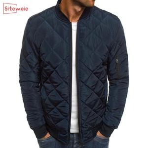 SITEWEIE Moda Erkekler Kalınlaşmak Parkas ceketler Sonbahar Kış Sıcak Coat eskitmek Spor Casual Ceket Erkekler Fermuar Giyim G496