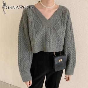 Genayooa koreanische Art Frauen Pullover Langarm-Strickpullover mit V-Ausschnitt Pullover und Sweater beiläufige Oberseiten 2020 Herbst-Winter