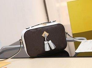Hot luxe Lettre Fleurs Caméra Designer avec pompons ceinture Sacs chaîne femmes Sac à main en cuir réel épaule Totes Lady bourse de sac à bandoulière