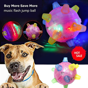 New LED Jumping Activation Bola Light Up música Flashing Bouncing vibratório Bola Dog Pet Chew Brinquedos elétricos Dança presente Bola