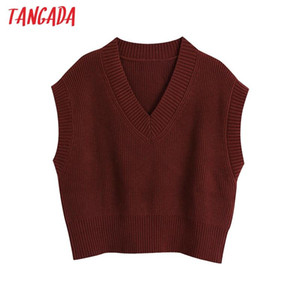 Tangada Spring Women Fashion V Neck Red Knit Waistcoat Casual Sleeveless Vest Knitting Sweater Chic Lady Tops BE167