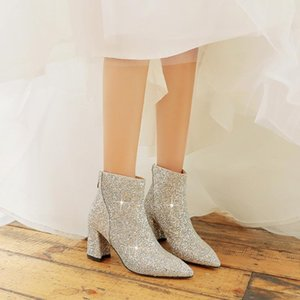 YMECHIC 2020 Autumn Bling Glitter Ankle Boots Female High Hoof Heels Red Silver Pointed Toe Bride Wedding Party Ladies Shoes