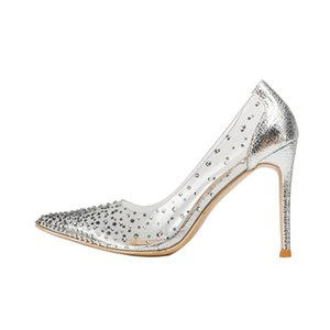 Casual Designer free shipping fashion women pumps silver glitter strass crystal point toe high heels shoes birde wedding shoes