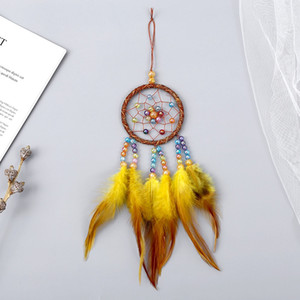 Manual Dream Catchers Wind Chime Feather Bead Bells Dreamcatcher Home Decoration Hanging Pendant Thanksgiving Christmas Gift FFF4594