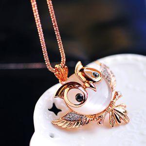 New Sweater Chain Opal Bird Fashion Jewelry Owl Long Necklace