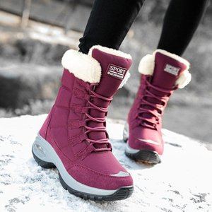 Women snow boots air cushion winter boots thick plush waterproof female shoes Comfortable warm outdoor women lace-up botas