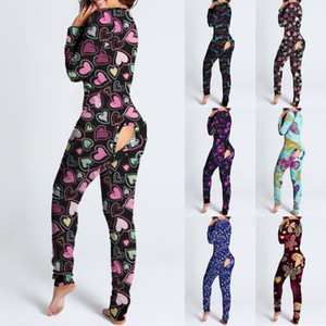 Diseñador de mono de mujer 2021 Nuevo Slim Sexy Día de San Valentín Patrón de amor Cartas impresas Inicio One Pedazos Pantalones Damitas de moda
