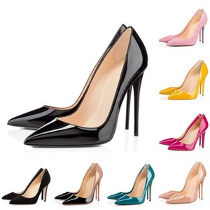 HOTSALE red bottom fashion high heels for women party wedding triple black nude yellow pink glitter spikes Pointed Toes Pumps Dress shoes