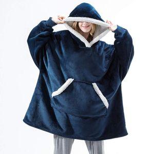 Sweatshirt Blanket Women Oversized Hoodies Winter Blanket With Sleeve Plaid Giant Hoodie Zip Coat Female Fleec