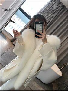 Casual Winterjacke Frauen Natürliche Echtpelzkragen Cashmere Wolle-Mischungen Oberbekleidung Coat Street loser Mantel
