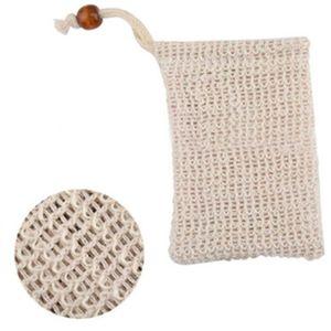 Fibras vegetales naturales exfoliantes malla Jabón Jabón Sisal Ahorro Ahorro bolsa del bolso del sostenedor para la ducha del baño de espuma y secado envío
