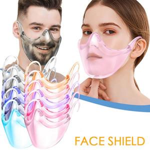 Прозрачная защитная маска мода Щита PC Анти Всплеск изоляция Mouth крышка 9 цветов Unisex Открытых Масок Transparent Designer Face YW20