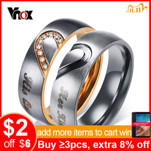 Vnox Her King His Queen Couple Wedding Band Ring Stainless Steel CZ Stone Anniversary Promise Ring for Women Men