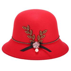 Vintage Women Hat Flower Pearl Bow-knot Decorated Felt Cap Warm Easy Match Lady Elegant Bowler Hat