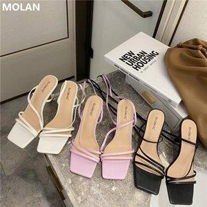 Molan Brand Designer 2021 New Fashion Sexy Sexy Band Band Woman Sandalias Tacones Altos Snoffy Kroan Shoes Calzado Bombas Party Vestido