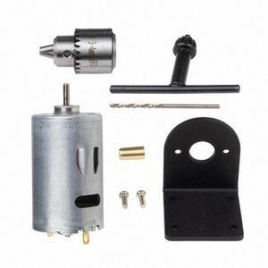 Pcb Holz Kunststoff Karton Lochsäge Dc 12-36V Lathe Press 555 Motor mit Miniatur-Hand Bohrfutter und Montagewinkel Dc Moto 19Br #