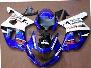 Iniezione Carene kit per blu bianco SUZUKI GSXR600 K1 750 GSXR750 2001 2002 2003 carrozzerie GSXR600 GSXR750 01 02 03 corredi del corpo