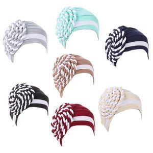 Women Muslim Pre-Tied Hijab Turban Hat Side Twisted Braid Beanies Headwrap Color Block Stripes Pleated Chemo Cap