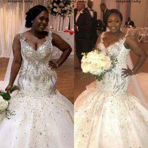 Sparkly Mermaid Plus Size Wedding Dresses 2021 Luxury Beaded Crystal V-neck African Nigerian Chapel Train Trumpet Wedding Gown