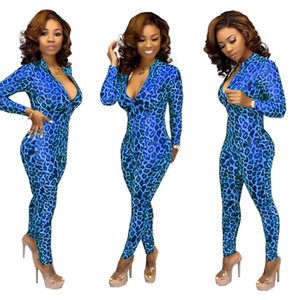 Sexy Leopard Stampato Donna Pagliaccetto Fashion High Collo Zipper Fly Skinny Rompere 2021 Designer Womens Abbigliamento