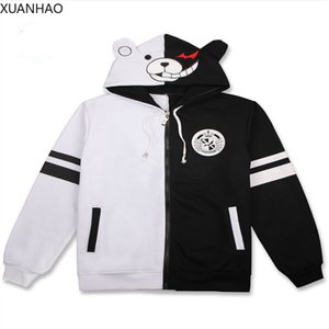Anime Danganronpa Monokuma Cosplay Costume Unisex Hoodie Sweatshirt Hooded Black White Bear Long Sleeve Daily Casual Coat Jacket 201013
